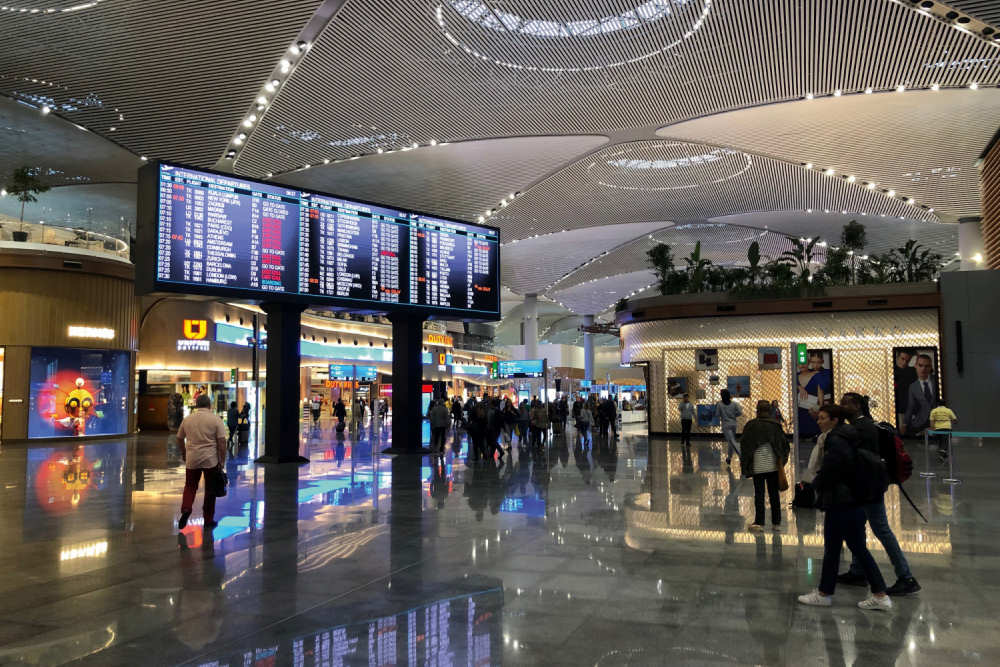 FIDS screen at the new Istanbul Airport